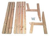 Douglas hout tuinbank deels in onderdelen uit elkaar gehaald