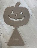 Houten Pompoen Halloween 46cm hoog_