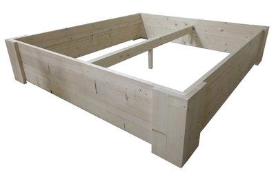 Tweepersoons Bed steigerhout bouwpakket horizontaal