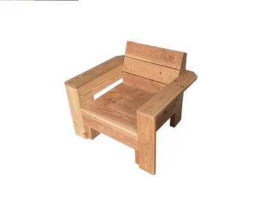 Loungestoel met armleuningen douglas hout bouwpakket