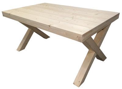 Steigerhout tafel met kruispoten