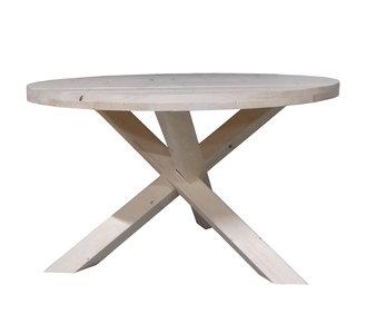 Ronde houten tafel van geschaafd steigerhout