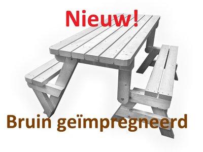 Nieuw inklapbare picknicktafel bruin geimpregneerd