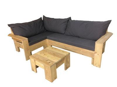 Hoekbank set lariks bouwpakket met kussens en tafel