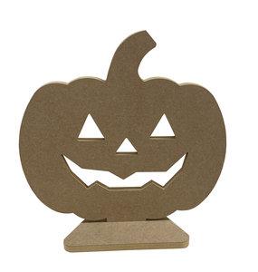 Houten Pompoen Halloween 46cm hoog