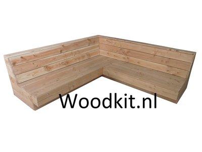 Hoekbank douglas hout bouwpakket woodkit