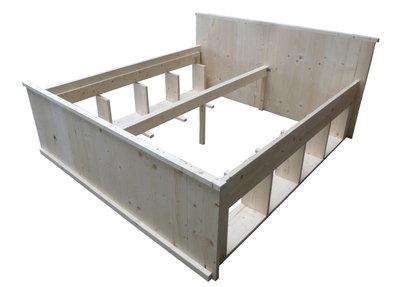 Zelf bed maken met opbergruimte tweepersoonsbed jeri bed for Bed van steigerhout maken