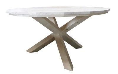 Industriële tafel met stalen trapeze poten by fØrn